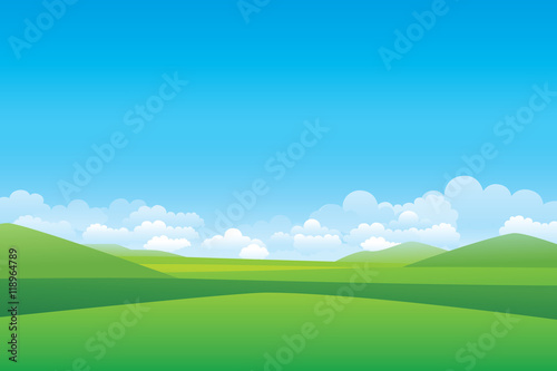Foto op Canvas Blauw Green hill landscape. Vector illustration of panorama view with green mountain landscape and cloud sky.