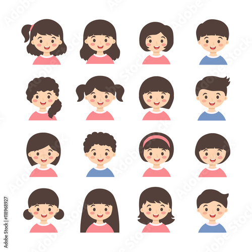 Kids Avatar Cartoon Vector Set Set Of Cute Boys And Girls