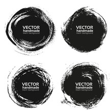Vector Beautiful Round Handmade Black Strokes- Backgrounds Paint