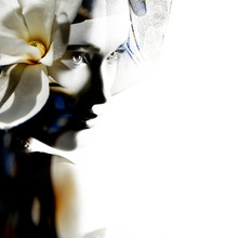 Double Exposure Portrait Of Beautiful Young Woman And Blooming M