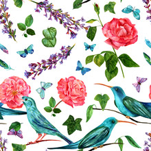 Seamless Pattern With Birds, Lavender, Roses, Butterflies