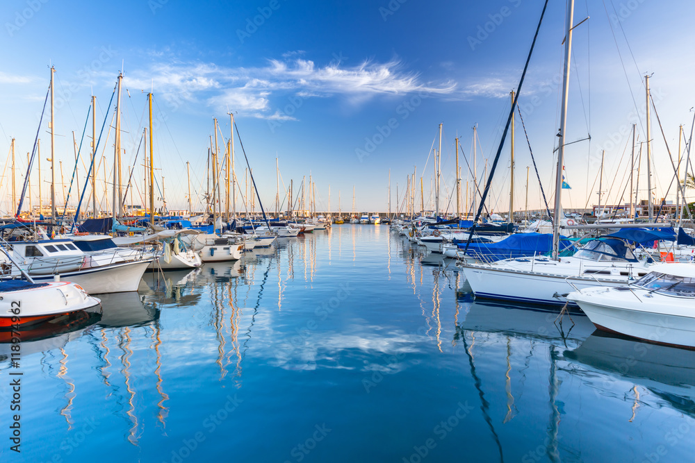Fototapety, obrazy: Marina with yachts in Puerto de Mogan, a small fishing port on Gran Canaria, Spain.