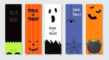 Set Of Happy Halloween Greeting Cards Or Flyers. Vector Illustration. Party Invitation Design With Emblem.
