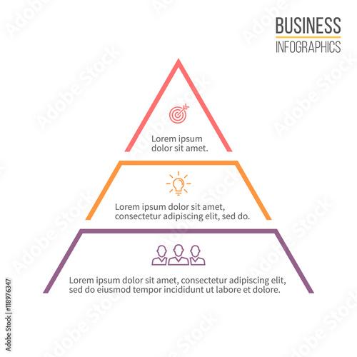 Carta da parati Pyramid, triangle with 3 steps, levels.