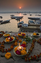 After The Kumbh Mela Festival In Varanasi, Some Pilgrims Move To Varanasi On The Ganges To Make Offerings And Swim In The Sacred Waters.