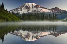 Mount Rainier, A Snow Capped P...