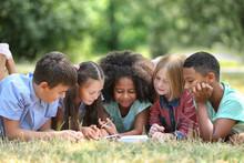 Cute Kids Reading Book On Green Grass