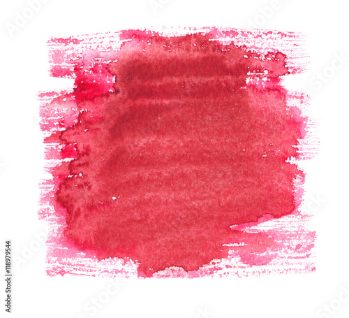Poster Portrait Aquarelle Cherry red dry brush srtokes painted in watercolor on white isolated background