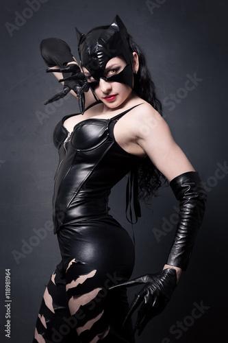Stampa su Tela attractive woman in leather latex cat costume