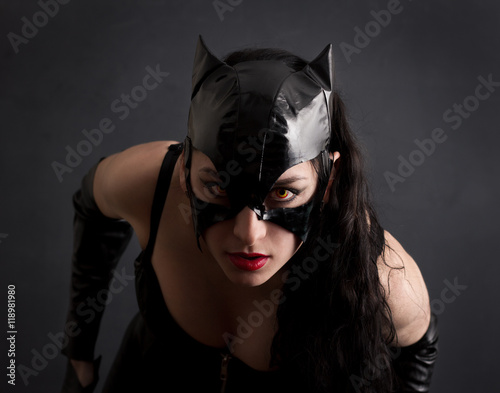 attractive woman in leather latex cat costume Canvas Print