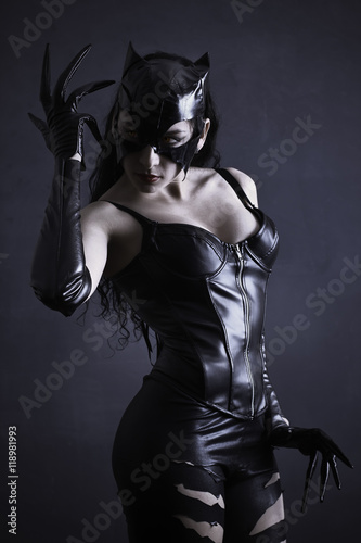 Fotografie, Obraz  attractive woman in leather latex cat costume