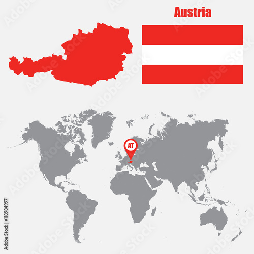 Austria map on a world map with flag and map pointer. Vector ...