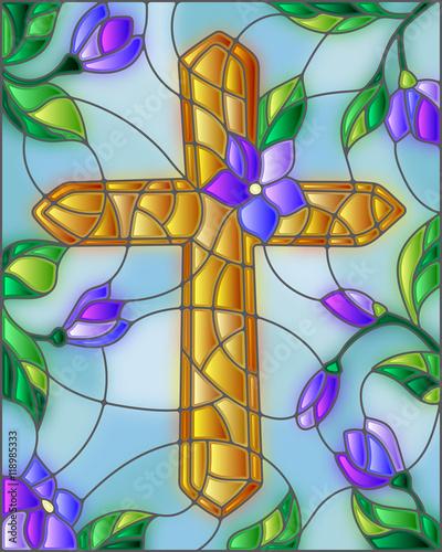 ilustracja-witrazu-ze-zlotym-krzyzem-na-niebie-i-kwiaty