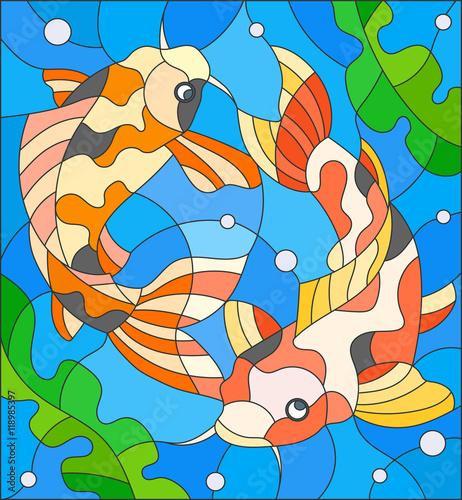 ilustracja-w-stylu-witrazu-z-para-karpie-na-tle-wody