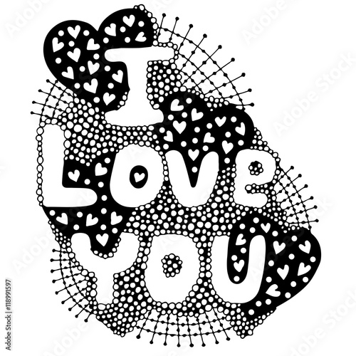 The vector word lettering I love you  with heart - 118991597