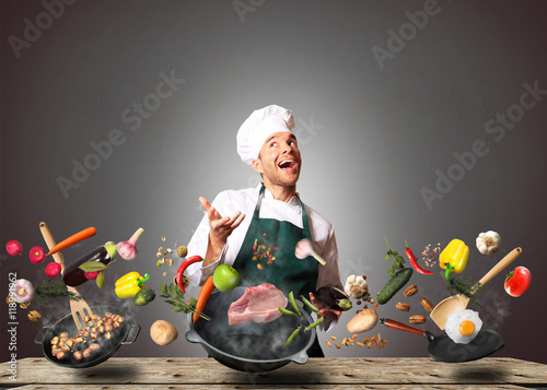 Autocollant pour porte Cuisine Chef juggling with vegetables and other food in the kitchen
