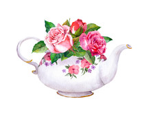 Teapot With Rose Flowers. Wate...