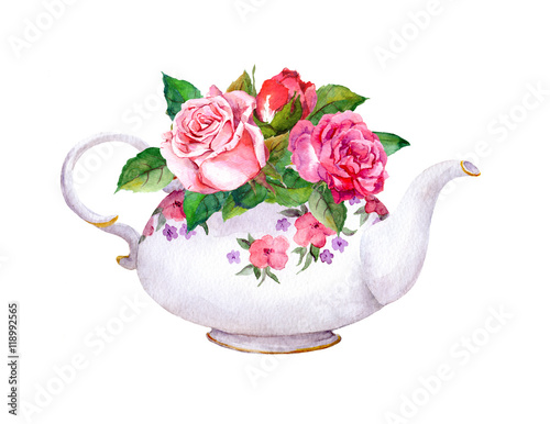 Fotomural Teapot with rose flowers. Watercolor