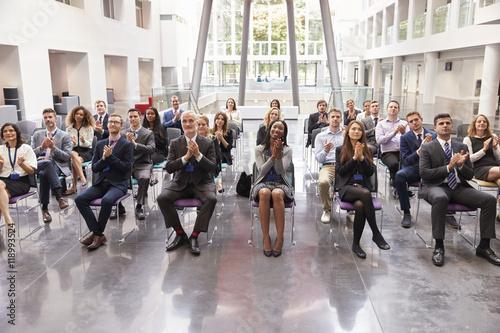 Audience Applauding Speaker After Conference Presentation Fototapeta