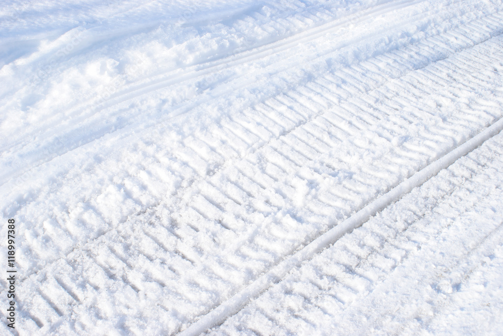 Photo & Art Print Winter Snowmobile Tracks | EuroPosters