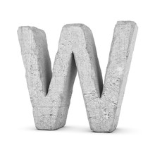 Concrete Letter W Isolated On ...