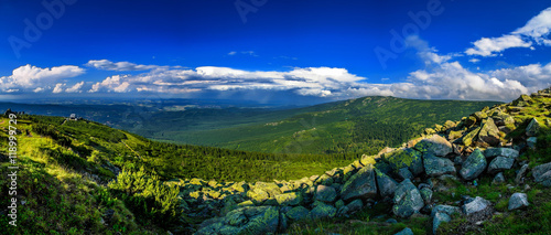 Cadres-photo bureau Bleu fonce stuning mountains panorama, Karkonosze Mountains
