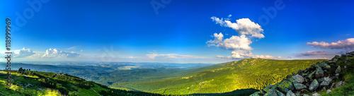 Fototapeta stuning mountains panorama in the evening,  Karkonosze Mountains obraz