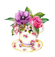 Fototapeta Do herbaciarni Tea cup with rose flowers. Watercolor for teatime