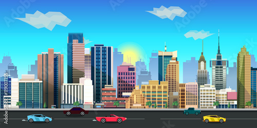 city game background 2d  application. Vector design. плакат