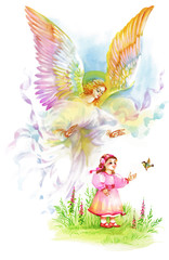 Beautiful Angel with Wings Flying over Child, Watercolor Illustration.