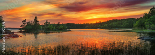 Vivid golden sunset in the archipelago of Scandinavia. Evergreen