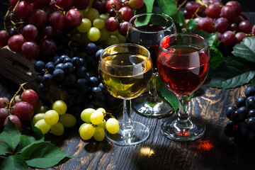 Fototapetaassortment of wine on wooden background