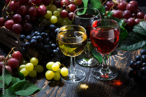assortment of wine on wooden background - 119020728