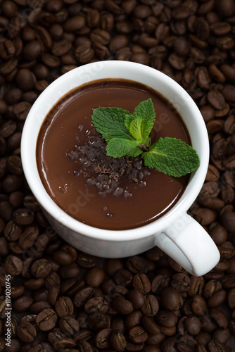 Spoed Foto op Canvas Chocolade cup of hot mint chocolate on the background of coffee beans