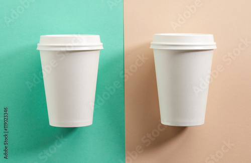 two white take away coffee cups