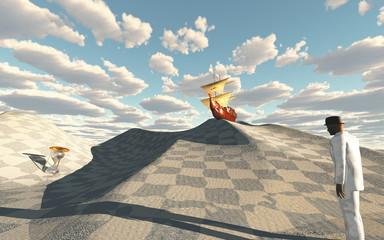 FototapetaShip crests on dune in checkerboard desert scene