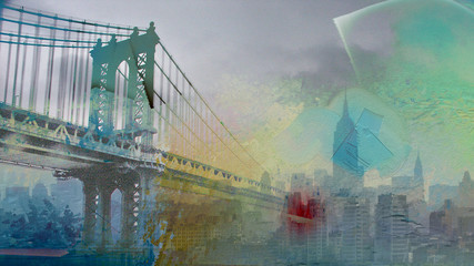 Fototapeta Wieżowce Manhattan Bridge Painterly