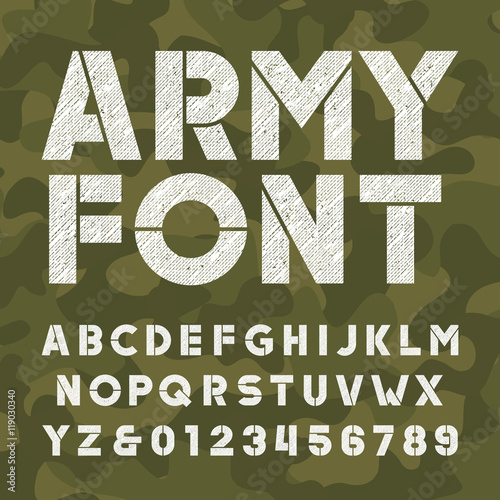 army alphabet font scratched bold type letters and numbers on camo