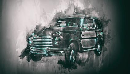 Naklejka Old car painting with dark vignette