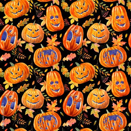Cotton fabric seamless pattern with pumpkin lanterns, maple leaves, oak and rowan .watercolor hand drawn illustration.black background.halloween