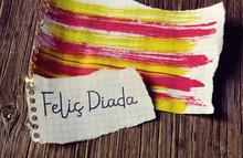 Text Felic Diada, Happy National Day Of Catalonia In Catalan