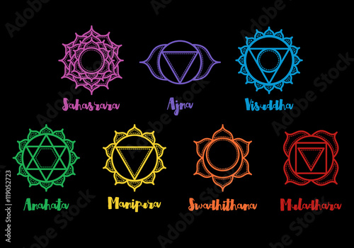 Fototapeta Isolated Set of beautiful indian ornamental chakras. Vector illustration. Color yoga chakra icons isolated on black. 7 geometric chakra mandalas. Sacred Geometry. obraz na płótnie
