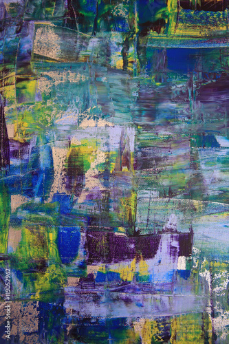 Abstract art background. Oil painting on canvas. Multicolored bright texture. Fragment of artwork. Spots of oil paint. Brushstrokes of paint. Modern art. Contemporary art. - 119052962