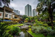 Gardens And Skyscrapers At Greenbelt Park, In Ayala, Makati, Met