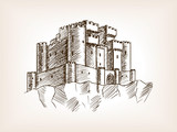 Medieval castle sketch style vector illustration