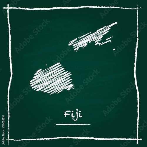 Fiji Outline Vector Map Hand Drawn With Chalk On A Green