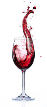 Red Wine Splashing In Glasses