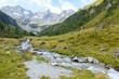 Wildbach von einem Gletscher in den Alpen