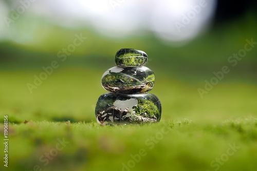 Fotografie, Obraz  Transparent stones on a green moss