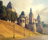 Fototapeta City - panorama of the old city of Szczecin, Poland,retro colors, vintage